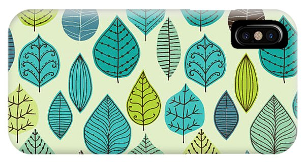 White Background iPhone Case - Seamless Pattern On Leaves Theme by Markovka