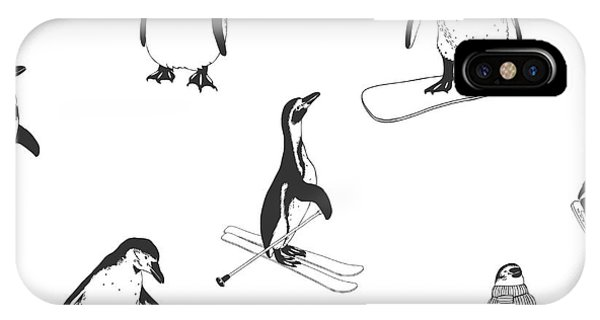 Seamless iPhone Case - Seamless Pattern - Penguins. Winter by Crazy Nook