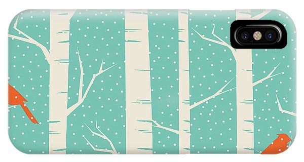 Vector Graphics iPhone Case - Seamless Pattern With Birches And Birds by Iveta Angelova