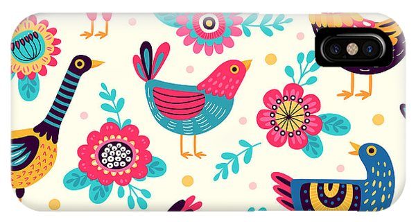 Ok iPhone Case - Seamless Pattern With Birds And by Xenia ok