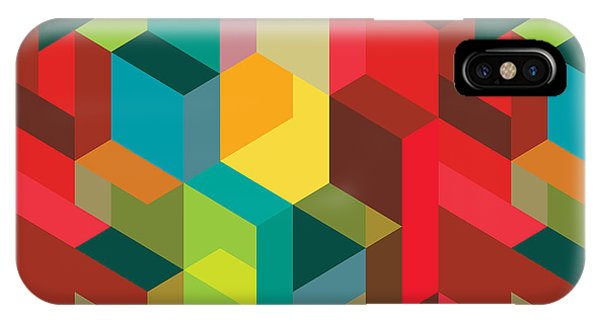 Rectangles iPhone X Case - Seamless Pattern With Decorative by Emirilen