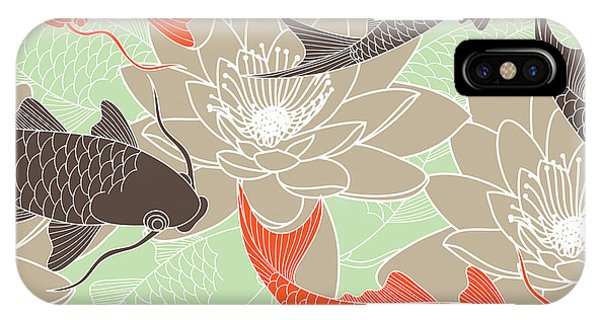 Ripples iPhone Case - Seamless Pattern With Lotus And Carps by Tets