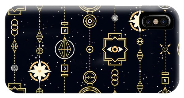 Space iPhone Case - Seamless Pattern With Stars And Magical by Leonid Zarubin
