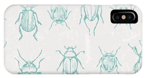 Stag iPhone Case - Seamless Print With Bugs. Eps 10 Vector by Ev-da