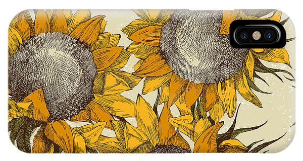 Sunflower iPhone Case - Seamless Vintage Ornament With by Mart