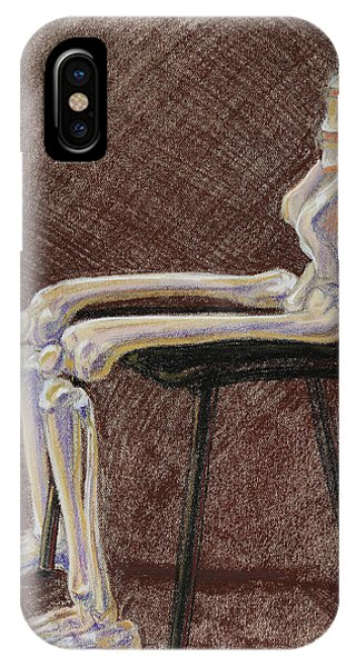 Pastel Pencil iPhone Case - Seated Skeleton Legs And Hips In Pastel  by Irina Sztukowski