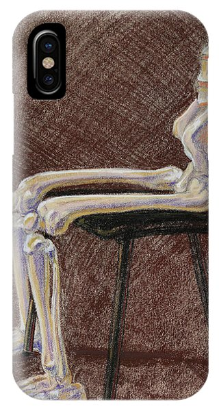 Bone iPhone Case - Seated Skeleton Legs And Hips In Pastel  by Irina Sztukowski