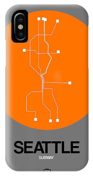 Downtown Seattle iPhone Case - Seattle Orange Subway Map by Naxart Studio