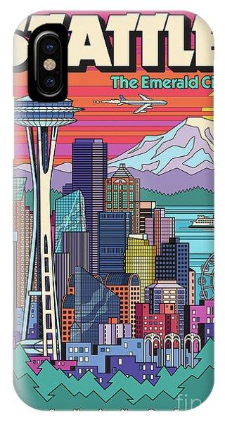 Needles iPhone Case - Seattle Poster - Pop Art Skyline by Jim Zahniser