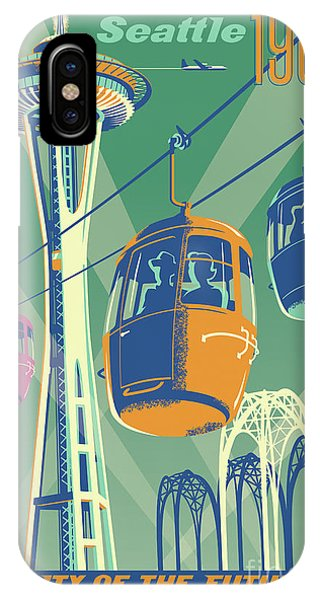 Retro iPhone Case - Seattle Poster- Space Needle Vintage Style by Jim Zahniser