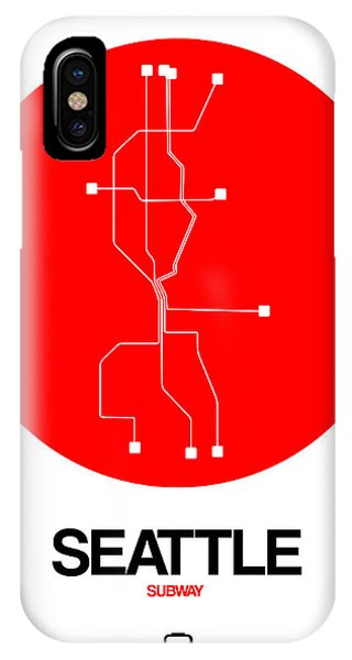 Souvenirs iPhone Case - Seattle Red Subway Map by Naxart Studio