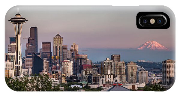 IPhone Case featuring the photograph Seattle Skyline And Mt. Rainier Panoramic by Adam Romanowicz