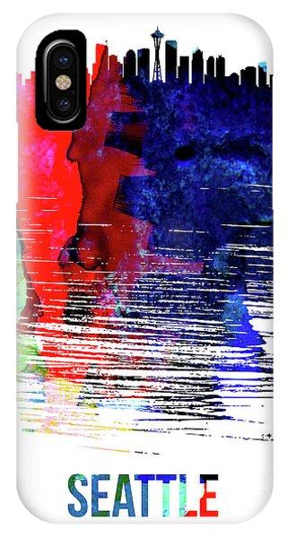 Downtown Seattle iPhone Case - Seattle Skyline Brush Stroke Watercolor   by Naxart Studio