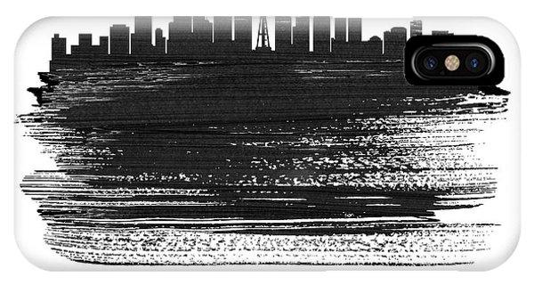 Downtown Seattle iPhone Case - Seattle Skyline Brush Stroke White by Naxart Studio