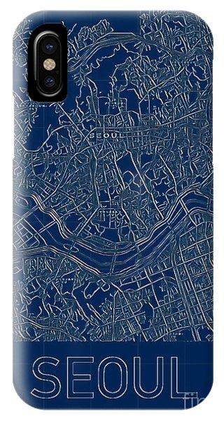 Seoul Blueprint City Map IPhone Case
