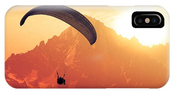 Horizontal iPhone Case - Sepia Paraglide Silhouette Over Alps by Pavel Burchenko