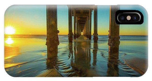 Scripps Pier iPhone Case - Serenity In San Diego Sunset 2 by Edward Fielding