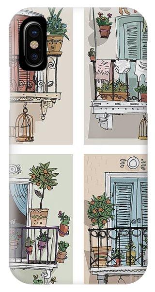 Set Of Cute Balcony - Cartoon Phone Case by Iralu