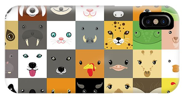 Set Of Cute Simple Animal Faces Phone Case by Olesia Misty