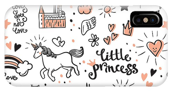 Fairytales iPhone Case - Set Of Doodle Princess And Fantasy Icon by Stoliarova Daria