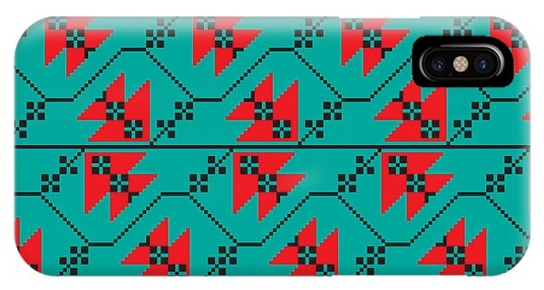 Needles iPhone Case - Set Of Ethnic Floral Geometric Pattern by Zinaida Zaiko