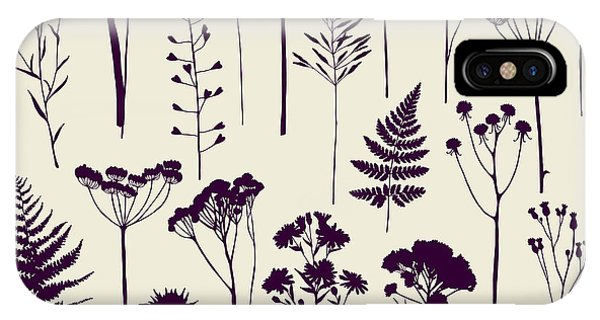 Sketch Pen iPhone Case - Set Of Illustrations Of Plants by Xenia ok