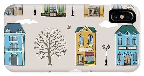 Estate iPhone Case - Set Of Old European Houses Isolated On by Piranjya