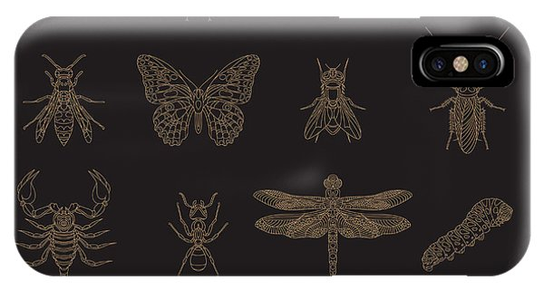 Bee iPhone X Case - Set Of Vintage Thin Line Insects Icons by Karnoff