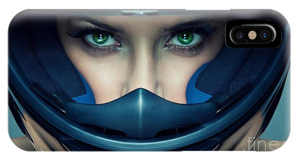 Adult iPhone Case - Sexy Woman In Helmet On Blue Background by Kiuikson