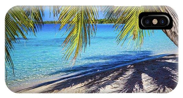 Shadows On The Beach, Takapoto, Tuamotu, French Polynesia IPhone Case