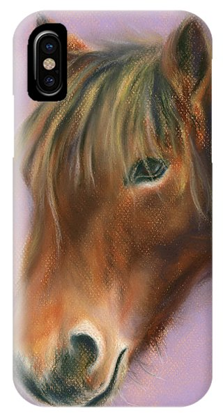 IPhone Case featuring the pastel Shaggy Brown Pony by MM Anderson