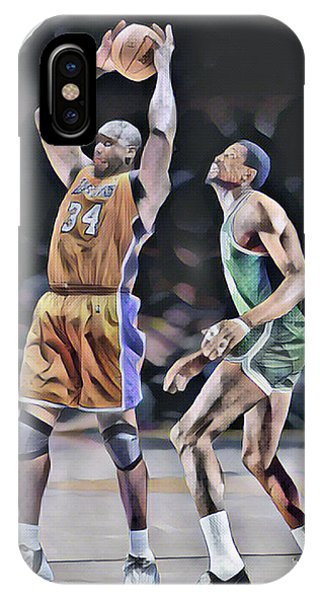 Celtics iPhone Case - Shaquille O Neal Vs Bill Russell Abstract Art 1 by Joe Hamilton