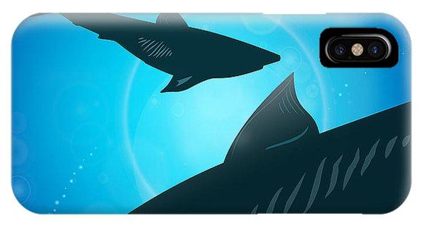 Danger iPhone Case - Sharks Under Water. Fish In Ocean by Zhukov