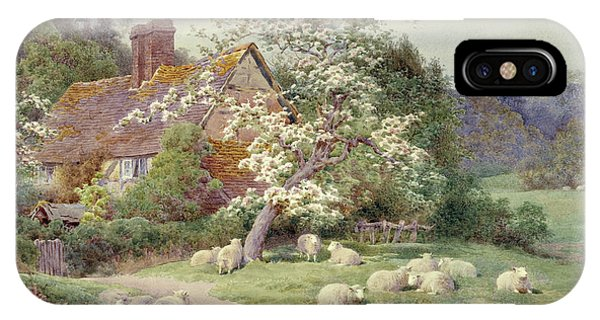 Barnyard iPhone Case - Sheep Outside A Cottage In Springtime by Charles James Adams