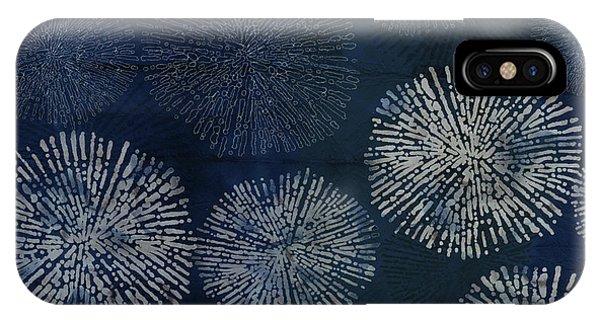 Shibori Sea Urchin Burst Pattern Dark Denim IPhone Case