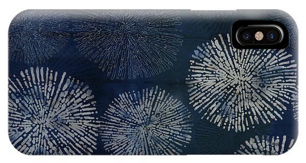 Shibori Sea Urchin Burst Pattern Dark Denim IPhone Case