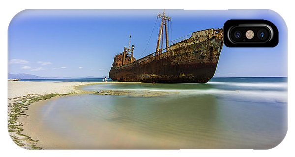 IPhone Case featuring the photograph Shipwreck Dimitros Near Gythio, Greece by Milan Ljubisavljevic