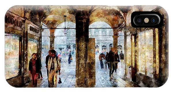 Shopping Area Of Saint Mark Square In Venice, Italy - Watercolor Effect IPhone Case