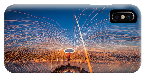 Hot iPhone Case - Showers Of Hot Glowing Sparks From by Weerasak Saeku