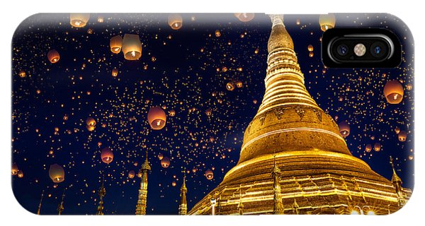 Culture iPhone Case - Shwedagon Pagoda With Larntern In The by Krunja