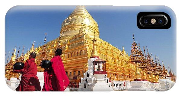 Spirituality iPhone Case - Shwezigon Paya, Bagan, Myanmar by Sathitanont N