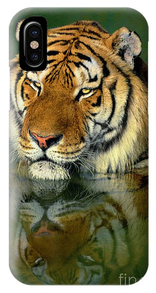 IPhone Case featuring the photograph Siberian Tiger Reflection Wildlife Rescue by Dave Welling