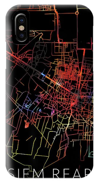 Cambodia iPhone Case - Siem Reap Cambodia Watercolor City Street Map Dark Mode by Design Turnpike