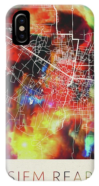 Cambodia iPhone Case - Siem Reap Cambodia Watercolor City Street Map by Design Turnpike