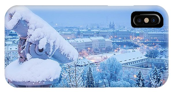 View Point iPhone Case - Sightseeing Telescope Near Prague Castle by Marten house