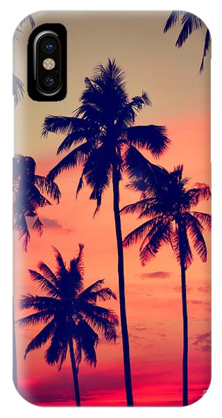 Dusk iPhone Case - Silhouette Coconut Palm Tree Outdoors by Rawpixel.com