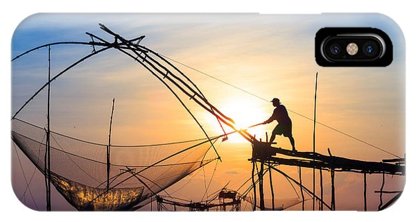 Fisherman iPhone Case - Silhouette Fishermen Are Using Nets Get by Avigator Fortuner