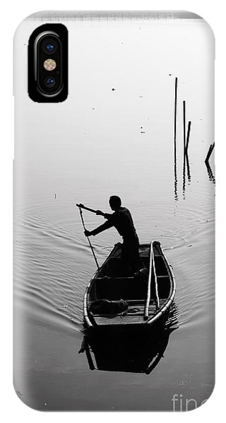 Fisherman iPhone Case - Silhouette Of A Boatman Rowing A by Gwoeii