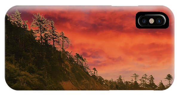 Silhouette Of Conifer Against  Seacoast  IPhone Case