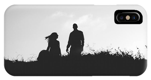 Silhouette Of Couple In Love With Wedding Couple On Top Of A Hil IPhone Case